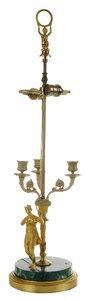 Fine Empire Gilt Bronze and Malachite Bouillotte Lamp Signed