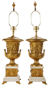 Pair Empire Gilt Bronze and White Marble Neoclassical Style Urns Converted to Lamps