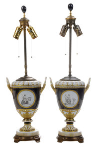 Pair Empire Style Transfer-Decorated Urns Converted to Lamps