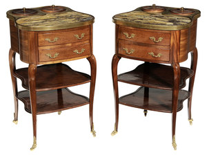 Fine Pair Empire Style Mahogany, Brass and Sienna Marble-Inset Wine-Tasting Tables