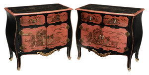 Pair Louis XV Style Chinoiserie-Decorated Commodes*