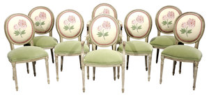 Set of Eight Louis XVI Style Paint-Decorated and Upholstered Dining Chairs