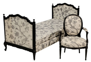 Provincial French Style Chintz-Upholstered Daybed and Open-Arm Chair