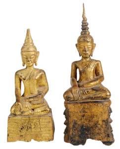 Two Giltwood Sitting Buddhas