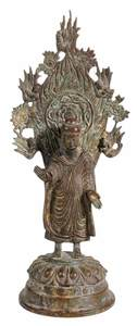 Chinese Bronze Buddha With Flame Mandorla
