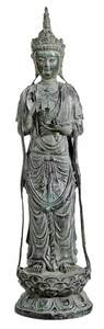 Chinese Bronze Kwanyin with Verdigris Patina