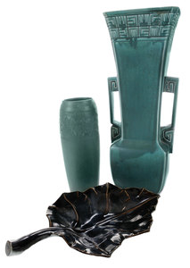 Two Rookwood Art Deco Green-Glazed Vases, and a Serving Dish