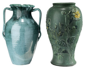Two Large American Art Pottery Vases or Umbrella Stands