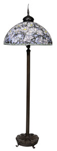 Tiffany Style Leaded Glass and Bronze Floor Lamp