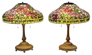 Pair Tiffany Style Patinated Bronze and Leaded Glass Peony Lamps