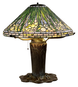 Tiffany Style Leaded Glass and Patinated Bronze Daffodil Lamp