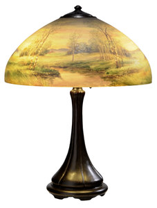 Handel Patinated Bronze and Reverse-Painted Glass Landscape Lamp