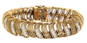 David Webb 18 Karat Gold, Platinum and Diamond Bracelet*