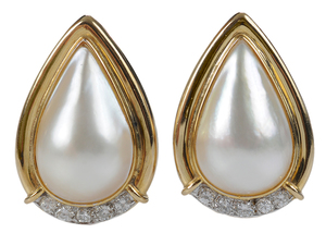 18 Karat Gold Mabé Pearl and Diamond Earrings