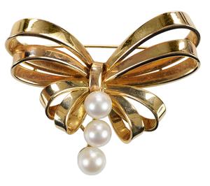 14 Karat Gold and Pearl Brooch