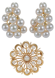 14 Karat Gold and Pearl Ear Clips, Brooch