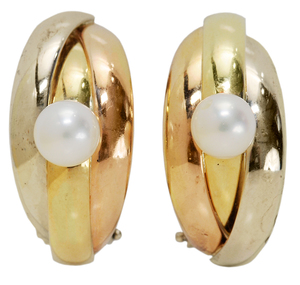 18 Karat Tri-Colored Gold and Pearl Ear Clips