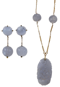 Lavender Jade Necklace and Earrings