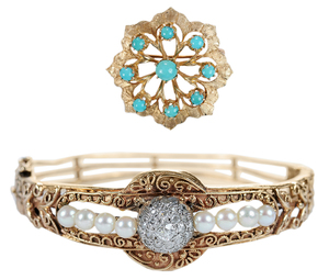 Gold and Turquoise Pin, Antique Pearl Bracelet*