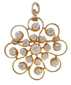 Vintage 14 Kt. Gold and Diamond Brooch*
