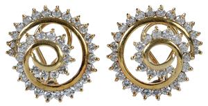 14 Karat Yellow Gold and Diamond Spiral Earrings*