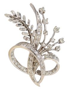 14 Karat White Gold and Diamond Brooch*