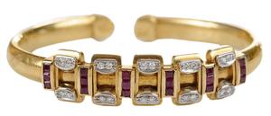 18 Karat Yellow Gold Diamond and Ruby Bangle Bracelet*