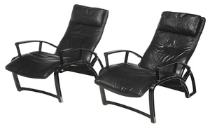 Pair F.A. Porsche Adjustable Lounge Chairs