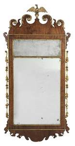 Chippendale Inlaid and Parcel Gilt Mirror