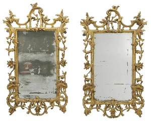 Pair Chippendale Carved and Gilt Wood Mirrors