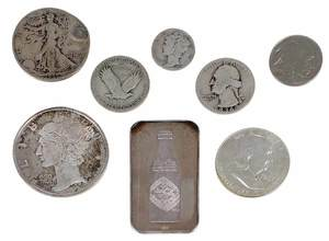 115 Troy Ounces of Silver Coins and Bars