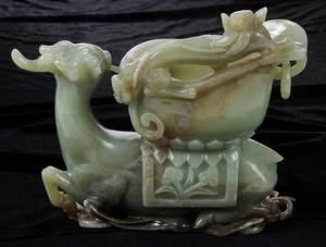 Carved Figural Green Hardstone Vase