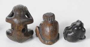 Nine Carved Wood Animal Netsukes