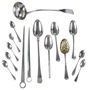 Fifteen Pieces English Silver Flatware