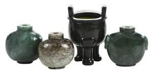 Three Jade/Hardstone Snuff Bottles/Vessel