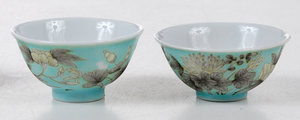 Four Chinese Turquoise Tea Bowls
