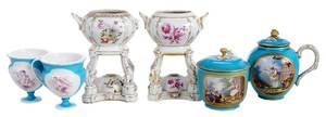 Six Pieces Continental Porcelain, Sevres, K.P.M.