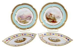 Four British Hand Painted Porcelain Plates