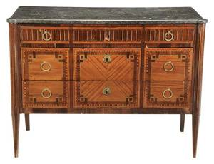 Directoire Parquetry Inlaid Marble Top Commode