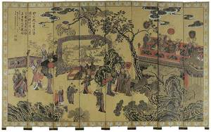 Carved and Lacquered Eight Panel Room Screen