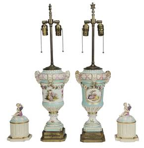 Pair Meissen Style Lamps with Putti Lids