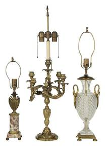 Three Gilt Bronze Table Lamps