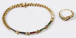 Gold, Diamond & Gemstone Ring & Bracelet
