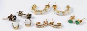 Four Gold & Gemstone Earrings