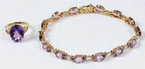 Two Pieces Gold & Amethyst Jewelry