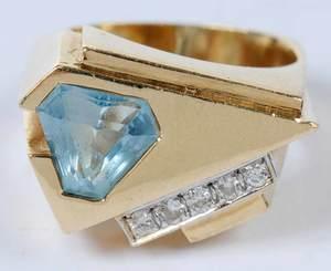 14kt., Diamond & Blue Topaz Ring