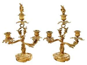 Pair Louis XV Style Gilt Bronze Candelabra