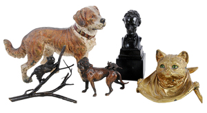 Five Cold Painted Bronze Figural Items