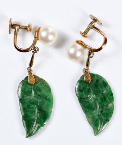 14kt. Jade & Pearl Earclips