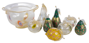 Nine Pieces of Murano Glass